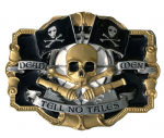 Dead Men Tell Tell No Tales, Jolly Roger Flags, Crossbones (Gold and Black) Belt Buckle. Code DC3